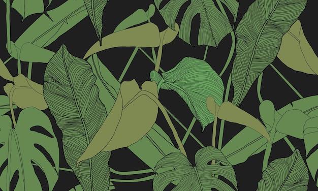 Reticolo tropicale senza giunte di vettore piante esotiche