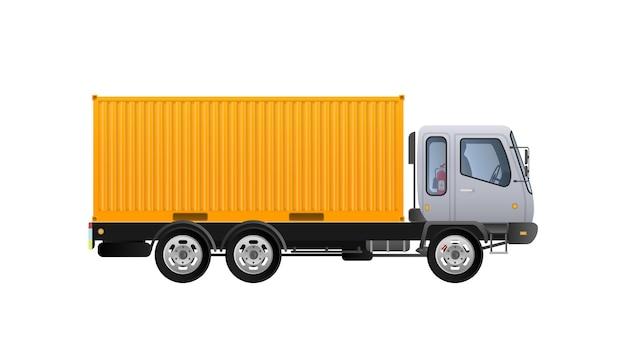 Vista laterale del camion di vettore