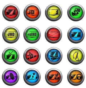 Set di icone di caratteristiche e specifiche della tv vettoriale