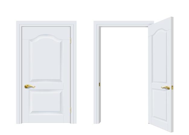 Vettore. due porte classiche bianche aperte e chiuse.