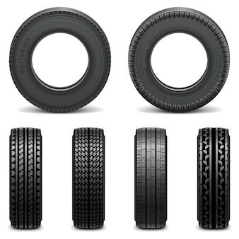 Icone di pneumatici vettoriali isolate su sfondo bianco