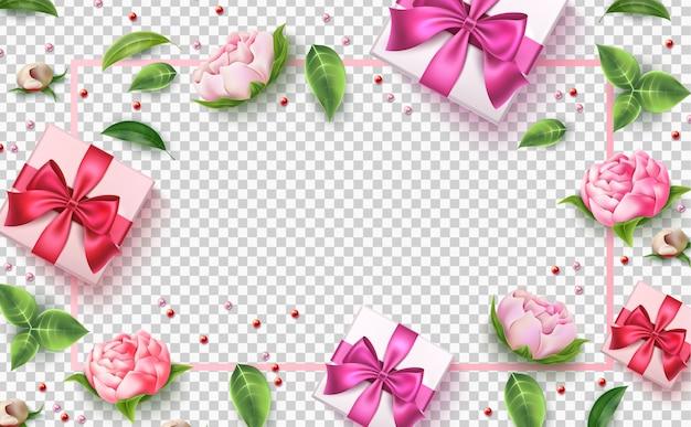 Scatola del presente del fiore rosa di giorno di s. valentino di vettore