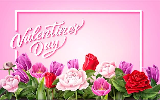 Fiore del tulipano della peonia rosa di giorno di s. valentino di vettore Vettore Premium