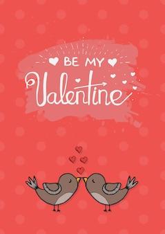 Modello di carta di amore di san valentino di vettore con elemento di calligrafia disegnato a mano. due adorabili uccelli