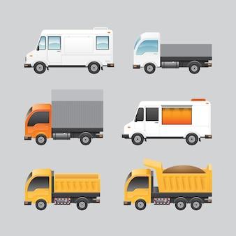 Insieme di trasporto del furgone del camion di progettazione del furgone di vettore.