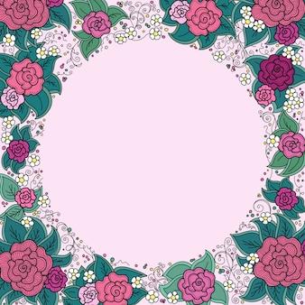 Cornice ornamentale rotonda floreale multicolore di vettore di spirali, turbinii, scarabocchi