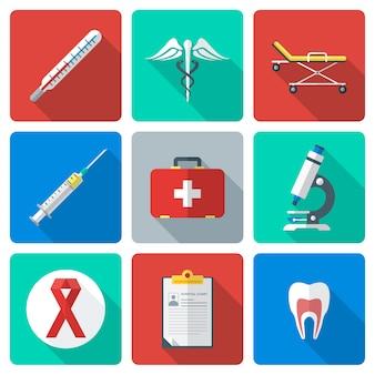 Vector le varie icone mediche di stile piano di colore con ombra