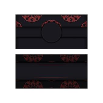 Disegno vettoriale vettoriale di colori nero cartolina con ornamento greco. design per biglietti d'invito con spazio per testo e motivi.