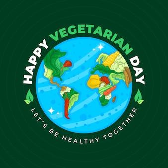Verdure vettoriali nella disposizione dei continenti in un globo - giornata mondiale vegetariana