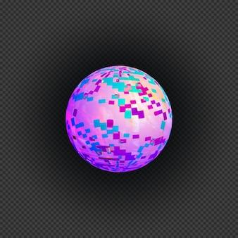 Vettore vibrante vari colori palla arte moderna grafica sferica elemento di design glitch astratto digitale danneggiato file di dati errore su sfondo scuro trasparente