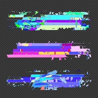 Vector vibranti vari colori arte moderna elementi di design grafico glitch impostano modelli di errore di file di dati danneggiati digitali astratti su sfondo scuro trasparente