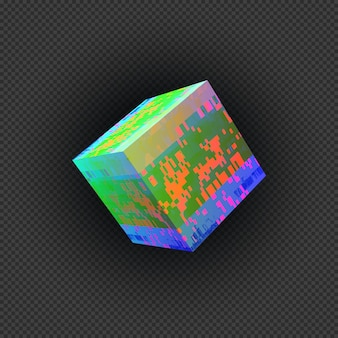 Vettore vibrante vari colori quadrato arte moderna grafica cubica elemento di design glitch astratto digitale danneggiato errore di file di dati su sfondo scuro trasparente