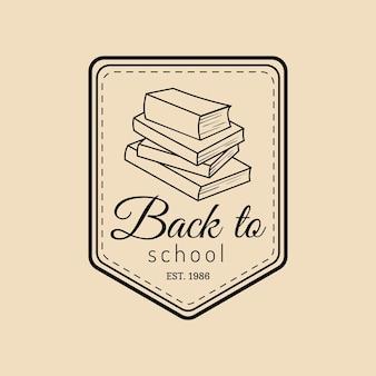 Vintage di vettore torna al logo della scuola. emblema retrò con pila di libri allievo. segno di educazione degli studenti. concetto di design del giorno della conoscenza.