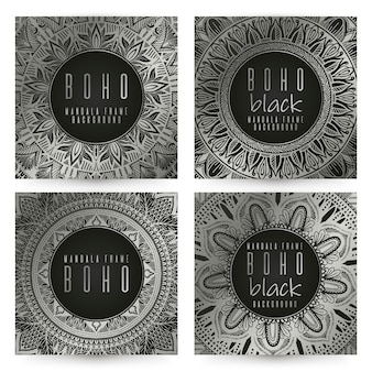 Set di carta vintage mandala vettoriale. colore argento.