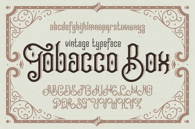 Carattere tipografico vintage vettoriale con cornice decorativa