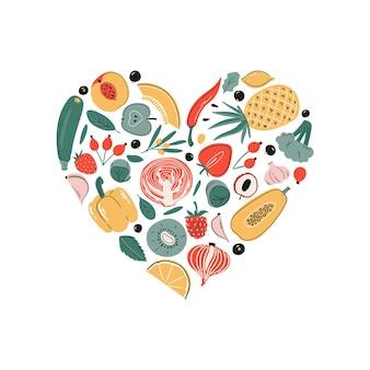 Set di fonti di acido ascorbico di vitamina c vettoriale raccolta di frutta e verdura a forma di cuore