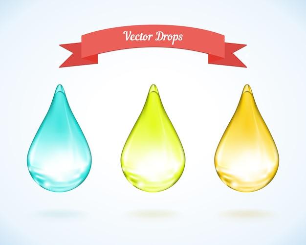 Goccia d'acqua vettoriale e gocce di olio giallo e verde