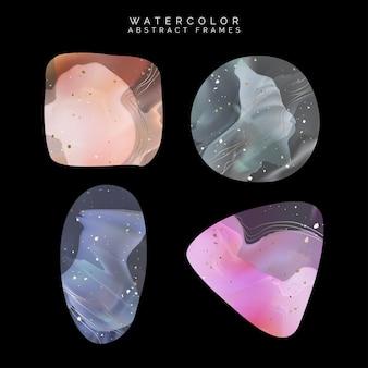 Vettore acquerello astratto gemma galassia o marmo sfondo elemento grafico o cornice disegno con effetto lamina d'oro in quadrato triangolo cerchio e forma ovale rosa verde arancione e blu
