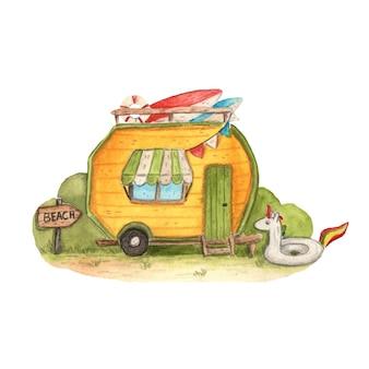 Vettore acquerello estate campeggio illustrazione clipart spiaggia accampamento tenting viaggio campeggio surf