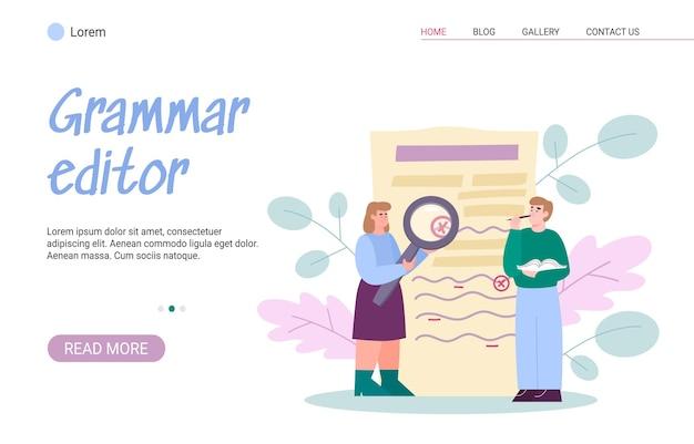 Banner web vettoriale con editore di grammatica insegnante scrittore o studente