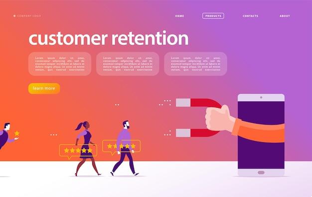 Progettazione del concetto di pagina web vettoriale, tema di fidelizzazione dei clienti. le persone danno un feedback positivo a stelle, mano umana, magnete. modello di sito dell'app mobile della pagina di destinazione. illustrazione di affari. marketing in entrata