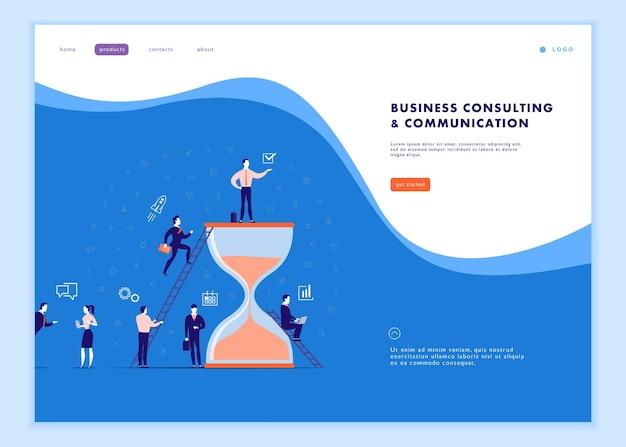 Modello di pagina web vettoriale per comunicazione aziendale, flusso di lavoro, consulenza online, gestione del tempo, lavoro di squadra. progettazione della pagina di destinazione. le persone dell'ufficio lavorano insieme. banner, concetto di illustrazione app mobile.