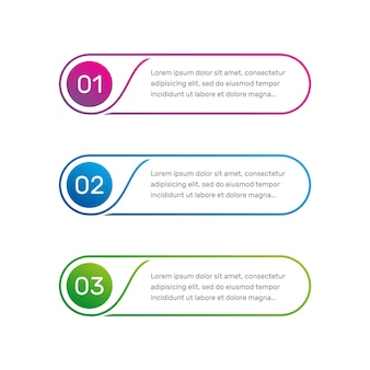 Menu colorato del flusso di lavoro del layout del modello web vettoriale per le opzioni del numero dell'interfaccia dell'app web