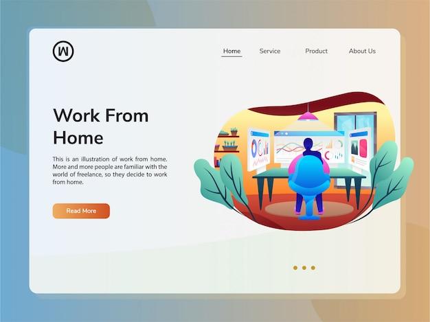 Modello di progettazione sito web vettoriale. concetto di lavorare a casa