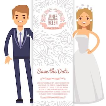 Invito a nozze vettoriale con personaggi. celebrazione della carta di nozze, illustrazione dell'invito di matrimonio