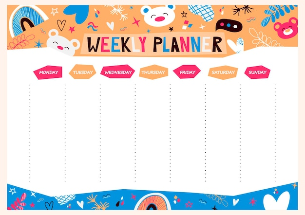 Vector agenda settimanale con simpatici orsi arcobaleno stelle in stile cartone animato