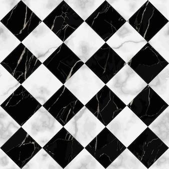 Reticolo senza giunte di marmo a quadri bianco e nero vettoriale ripeti la superficie marmorizzata diagonale