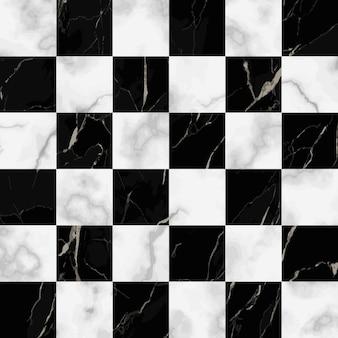 Modello senza cuciture di marmo bianco e nero a quadri vettoriale ripeti la superficie marmorizzata