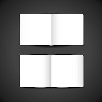 Vector bianco vuoto mock up copertina quadrata di carta interna ed esterna del libretto aperto, brochure spiegata, illustrazione di una rivista realistica con disegno del modello di ombra isolato su sfondo scuro