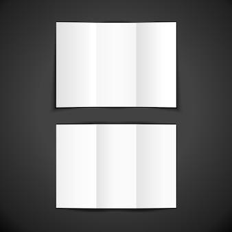 Vettore bianco vuoto mock up carta interna ed esterna verticale aperto brochure spiegato libretto euro illustrazione realistica con disegno del modello ombra isolato su sfondo scuro