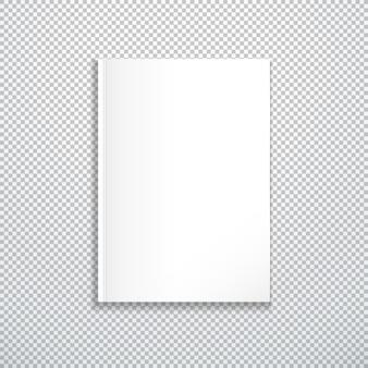 Vettore bianco vuoto mock up copertina di carta verticale di rivista chiusa, opuscolo, illustrazione di brochure realistica con design modello ombra isolato su sfondo trasparente