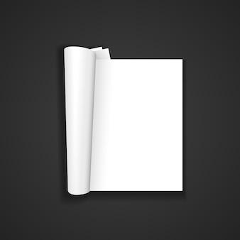 Vector bianco vuoto mock up carta verticale rivista aperta, opuscolo spiegato, illustrazione brochure realistica con design modello ombra isolato su sfondo scuro
