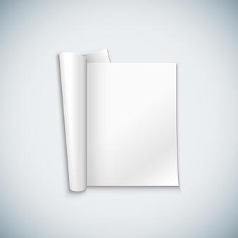 Vector bianco vuoto mock up carta verticale rivista aperta, opuscolo spiegato, illustrazione brochure realistica con design modello ombra isolato su sfondo chiaro