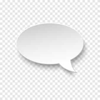 Bolla di discorso di carta in bianco bianca di vettore su sfondo trasparente. illustrazione 3d realistica. forma ovale. modello per il tuo design.