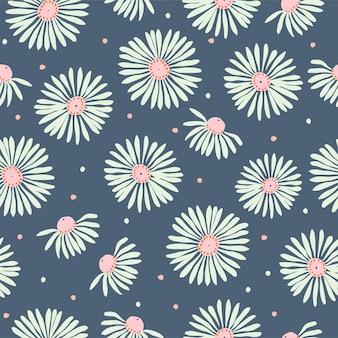 Vector white cosmos flower illustrazione motivo motivo ripetuto senza cuciture tessuto stagione estiva