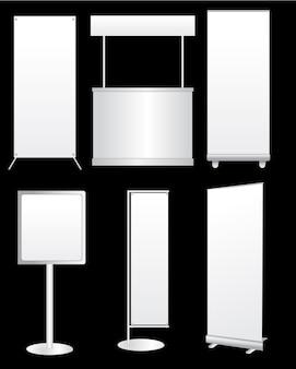 Vector design creativo bianco stand espositivo
