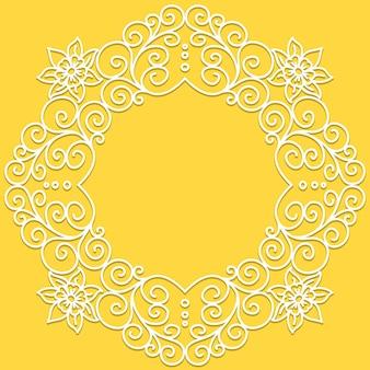 Reticolo di doodle di vettore bianco di spirali, turbinii e fiori