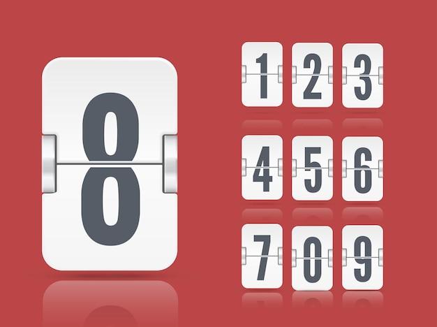 Modello di tabellone segnapunti flip bianco vettoriale con numeri e riflessi che galleggiano su diverse altezze per timer per il conto alla rovescia o calendario isolato su sfondo rosso.