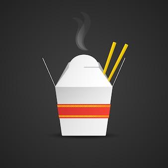 Vector white hot asian noodles take away mock up carta scatola vuota nastro rosso oro ornamento di spighe con cibo bastoni illustrazione realistica con disegno del modello ombra isolato su sfondo scuro