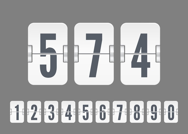 Numeri di tabellone segnapunti bianco vettoriale per timer conto alla rovescia flip o calendario isolato su sfondo grigio. modello per il tuo design.