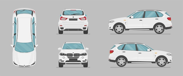 Auto suv bianca vettoriale da diversi lati