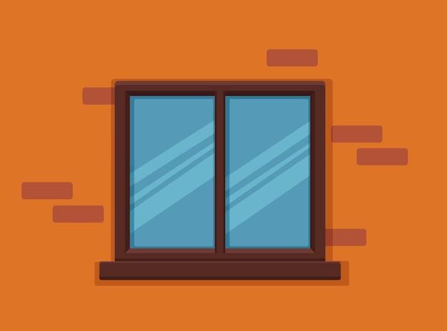 Finestra vettoriale con vetro e cornice in legno su un muro di mattoni.
