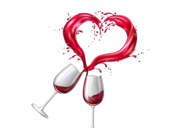 Bicchieri da vino vettoriali che tostano con esplosione di liquido splash a forma di cuore rosso