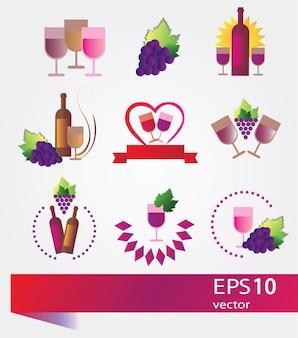 Etichette e concetti di vino di vettore - set di icone