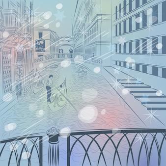 Paesaggio urbano di natale invernale vettoriale con il ponte dei sospiri in v