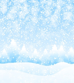 Fondo di paesaggio di vacanze invernali di vettore con alberi, fiocchi di neve e neve che cade